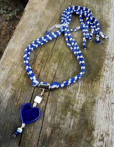 Blue and white, statement necklace, heart pendant by DenDesign jewels $36.90
