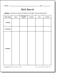 Form (and lesson idea) for getting the kids thinking and learning about solid shapes in the world.