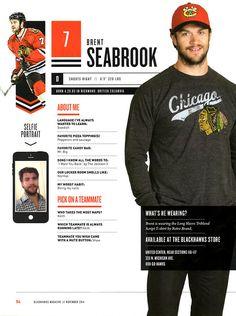 7 // BRENT SEABROOK - Blackhawks Magazine surveys 2014-15