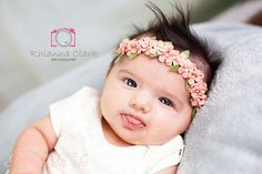 Lovely, soft wool blend felt Hydrangea flower crown on a skinny elastic headband in Ginger Pink with pearls  This flower crown is sure to be a