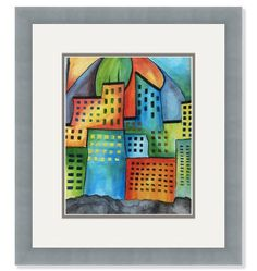 """Limited Edition Art Print / Bold Cityscape / Signed by Artist / 6.5 x 5"""". $10.00, via Etsy."""