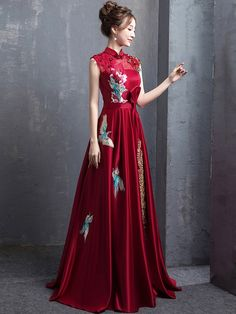 3fdde0a66f Red A-Line Floor Length Qipao   Cheongsam Wedding Dress with Embroidery  Chinese Wedding Dresses