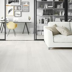 """Barlinek / Interior design for the newest """"Tastes of Life"""" Barlinek's collection / Agata Smok / www. Touch Of Gray, White Truffle, Floor Design, Grey Walls, Home Interior Design, Office Desk, Living Spaces, Hardwood, Room"""