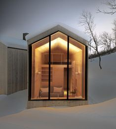 Holiday Home - Mountain Lodge in Geilo, Havsdalen, Norway. Reiulf Ramstad Arkitekter designed this beautiful mountain lodge located near the village Geilo, Contemporary Cabin, Contemporary Architecture, Contemporary Design, Modern Design, Minimal Architecture, Cabinet D Architecture, Interior Architecture, Interior And Exterior, Interior Design