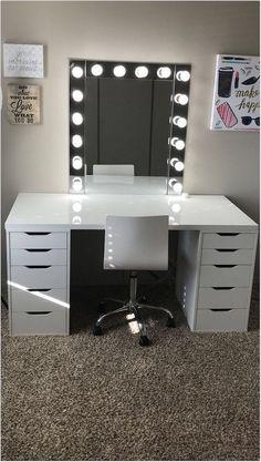 Make-up room inspiration! I love this vanity in my makeup room! Ikea Alex drawers make-up room inspiration! I love this vanity in my makeup room! Ikea Alex drawers Source b Cute Bedroom Ideas, Room Ideas Bedroom, Bedroom Decor, Ikea Room Ideas, Bedroom Small, Trendy Bedroom, Bedroom Ideas For Girls, Ikea Bedroom Furniture, Red Bedroom Design