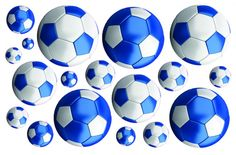 Football stickers - blue & white