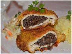 Domowa kuchnia Aniki: Kieszonki schabowe z pieczarkami. Kotlet schabowy faszerowany pieczarkami