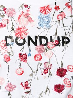 Shop Dondup floral embroidery T-shirt .