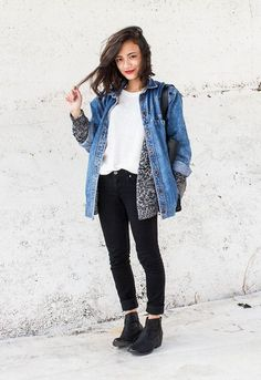 denim jacket + cardigan + dark pants + booties