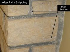 How To Remove Paint Residue From Cement, Stone or Brick Our contractor told me how vinegar would remove the paint film. It is such an easy and affordable solution that really works! Vinegar also brightened the stone. How To Clean Stone, Cement Stain, Remove Paint, Brick Flooring, Floors, Stripping Paint, Brick Interior, Rock Fireplaces, Cleaning