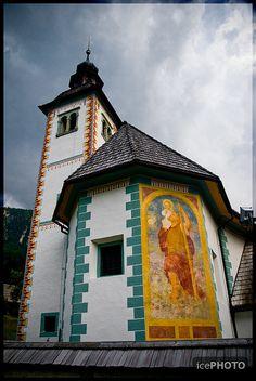 Cute little church at lake Bohinj, Slovenia