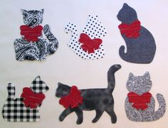 Set of 6 Mixed Black Gray Kitty Cat Iron-on Cotton Fabric Appliques  #Unbranded