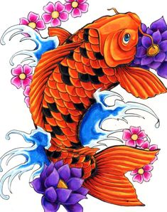 Koi Fish - flower tattoo. I want it. But in cotton candy colors.