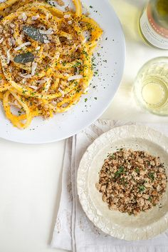 Pasta with squash carrot 'pesto' and garlic breadcrumbs