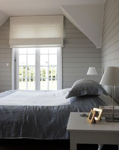 Bedroom | Linen Bedding | Horizontal wall panelling - perfection.