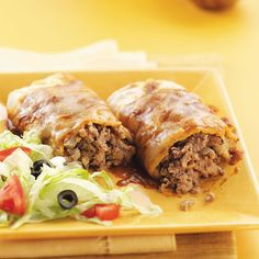 Tacoritos Recipe -This mild and meaty Southwestern dish combines the delicious flavor of tacos with the heartiness of burritos. Your family's going to love 'em! —Monica Flatford, Knoxville, Tennessee