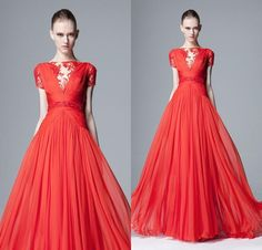 Free shipping, $134.04/Piece:buy wholesale  2015 Hot Sale Zuhair Murad Bateau Neckline Cap Sleeve Red Chiffon Sexy Evening Dresses With Sleeves FX568 Long Prom Evening GownPear,2015 Spring Summer,Court Train on haotang888's Store from DHgate.com, get worldwide delivery and buyer protection service.