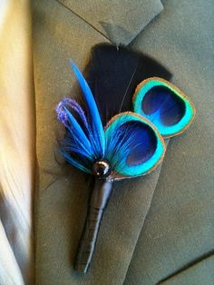 One Fabulous Peacock Boutonniere Package 2 peacock by WaterMeNot