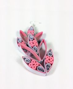 Large Paper Quilled Statement Earrings - paper quilling earrings, statement jewelry, large earrings, big earrings, oversized earrings, pink