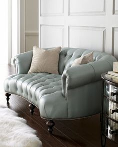 Superb Now This Is The Sofa For Me When We Buy Our Home! Curved, Tufted Sofa In  Unexpected Pearlized Blue Leather With Silvery Nailhead Trim And  Coordinating ...