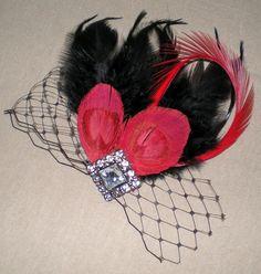 Peacock Feathered Hair Fascinator Gothic by BittysJewelryAndMore, $38.00