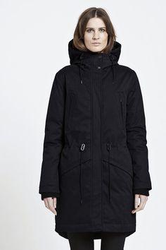 Dame vinterjakke med pels snow engel Mørk Grå