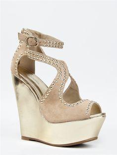 Paprika CHUN Studded Strappy Wedge Sandal -