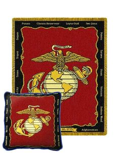 Marines Tapestry Pillow and Throw Set -Buy at Snugglebug Pillows and Throws www.snugglebugpillowsandthrows.com