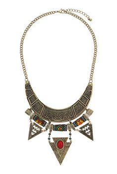 Aztec Engraved Triangle Necklace