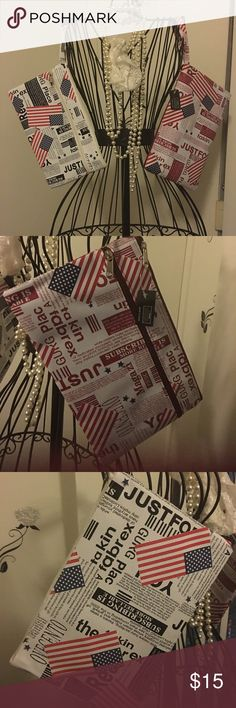 American Flag Clutch wristlet This cute ready for breakfast, brunch or lunch clutch which can also be worn as a wristlet. 2 colors shown in red, white, black and blue and one in red and white. 2 outside zippers which gives you 2 compartments for more storage. Great Buy! Limited supply! Bags Clutches & Wristlets