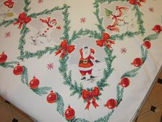 Vintage CHRISTMAS Tablecloth Happy Dancing by unclebunkstrunk, $89.99