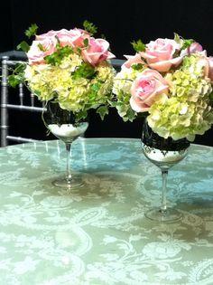 Wine Glass Wedding Flower Arrangements
