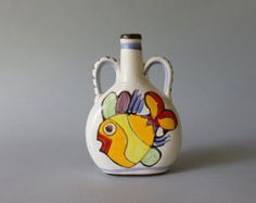 1970s Ceramic / Vintage Arted Ceramica Fish Bottle / Mid Century Home Decor Fish Pottery