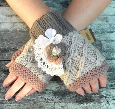 Romantic Upcycled Shabby Chic Fingerless Gloves Arm warmers French country Crocheted Winter Fingerless mittens