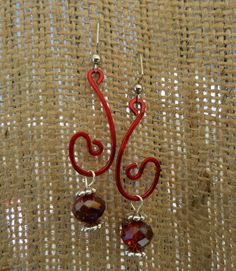 Red Copper Wire and Faceted Glass Earrings, African Earrings, Tribal Earrings, Ethnic Earrings, Handmade Earrings, Earrings, Jewlery by SacredGemz on Etsy