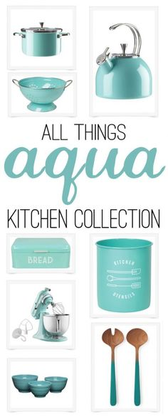 I LOVE this kitchen collection - its all about AQUA! Such a great kitchen collection - I want everything! If you're looking for a kitchen collection that's all about aqua, then you're in luck! Your entire kitchen can be aqua-ed up in just a few minutes! Kitchen Utensils, Kitchen Gadgets, Kitchen Tables, Kitchen Appliances, Home Decor Accessories, Kitchen Accessories, House Ideas, Vintage Kitchen Decor, Turquoise Kitchen Decor