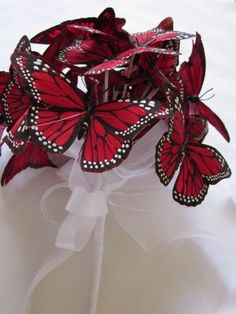 Red Butterfly wedding bouquet by lorrie Red Bouquet Wedding, Bride Bouquets, Red Wedding, Wedding Bride, Wedding Flowers, Fall Wedding, Papillon Butterfly, Red Butterfly, Wedding Themes