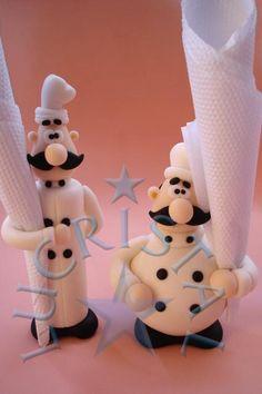 Chefs porcelana fria polymer clay pasta francesa masa flexible biscuit cake topper modelado modelling fimo