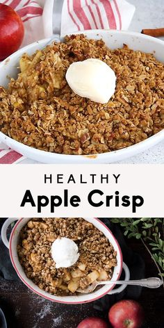 Recipes Snacks Baking Healthy Apple Crisp naturally sweetened with maple syrup instead of sugar and topped with a crunchy oat pecan topping! Serve warm with vanilla bean ice cream. A great way to use up apples! Best Apple Crisp Recipe, Apple Crisp Easy, Apple Crisp Recipes, Apple Crisp Healthy, Baked Apples Healthy, Oatmeal Recipes, Healthy Desayunos, Healthy Drinks, Healthy Living
