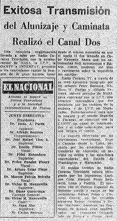El 20 de julio de 1969 RCTV transmitió la llegada del hombre a la luna.