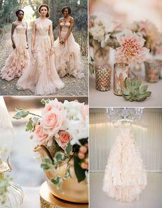 blush pink wedding dresses and wedding flower decoration ideas