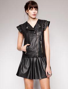Lace up leather vest