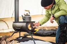Attention serious campers- how about a portable wooden stove. YES, IT IS POSSILBE! The Frontier Plus Wood Stove compactly fits into your car and can turn your next camping trip into the most romantic one yet. Best Camping Gear, Camping Survival, Go Camping, Camping Gadgets, Backpack Camping, Truck Camping, Camping Checklist, Hiking Gear, Emergency Preparedness