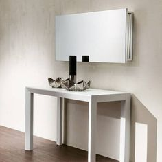 The ultimate space-saving essential, the Box is both a mirror and compact storage solution for the spare leaves of extendable tables. Console Furniture, Furniture Design, Console Table, Dining Table, Small Space Design, Small Spaces, Space Saving Table, Resource Furniture, Transforming Furniture