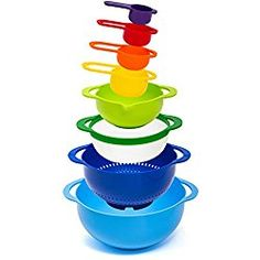 HULLR Measuring Mixing Bowl Set, Colorful Stackable Bowls For Baking Cooking & More: Mesuring Bowl Set Includes: br Baking Supply Store, Mud Kitchen, Kitchen Dining, Thing 1, Nesting Bowls, Kitchen Supplies, Kitchen Tools, Mixing Bowls, Baking Tools