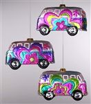 From Katherine's Collection, these glass ornaments are in the shaped of a Volkswagen van The vans have a psychedelic themed designs. Can be used as a holiday ornament, 1960s party theme decoration or even in a teen's room as decor.
