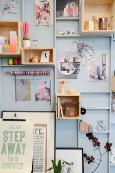 Bit full on but I love the colours - esp the peach coloured cactus!   mood board wall