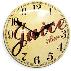 Juice Tin Wall Clock, Retro Wall Clock | Barn Light Electric ($106) ❤ liked on Polyvore featuring home, home decor, clocks, retro clock, retro home decor, inspirational home decor, retro wall clock and retro home accessories
