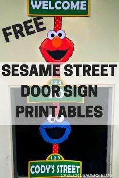 How to make a Sesame Street Door Sign with FREE Printables | Cakecrusadersblog.com
