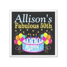 FESTIVE PERSONALIZED 50TH BIRTHDAY NAPKINS STANDARD COCKTAIL NAPKIN  http://www.zazzle.com/jlpbirthday/gifts?cg=196109816300664504&rf=238246180177746410 #50yearsold #50thbirthday #50thbirthdayparty #50thbirthdaygifts #50thbirthdaynapkins #Personalized50th